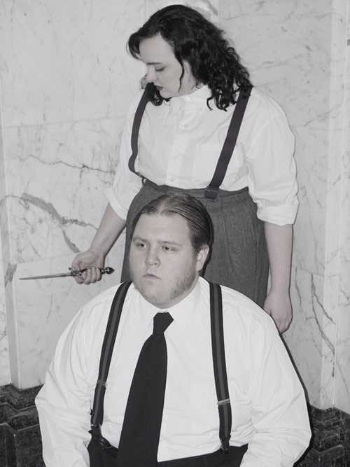 """Allen Bonk and Ashley Surdovel rehearse for King's College Theatre Department's upcoming performances of Shakespeare's finest play, """"Hamlet."""""""
